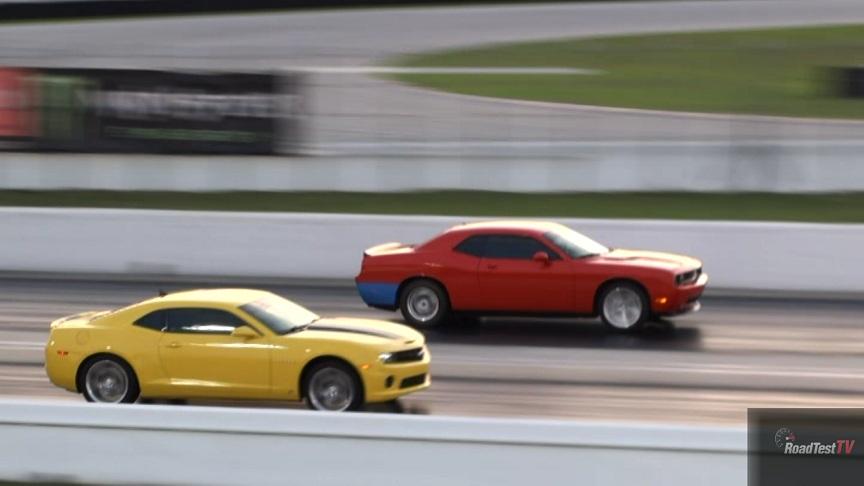 drag race video 2010 challenger srt 8 hemi vs 2011 camaro ss 6 speed road test tv. Black Bedroom Furniture Sets. Home Design Ideas